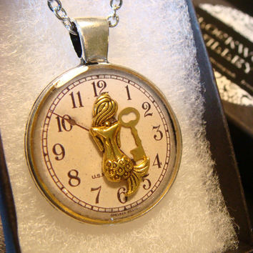 Mermaid With Golden Key over Clock  Steampunk Pendant Necklace (1962)