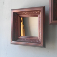 Vintage Wood Framed Mirror Set in Rose Gold, Home Interior Decor Accents, Gallery Wall Set, Mid Century Modern Vintage, Decorating Ideas