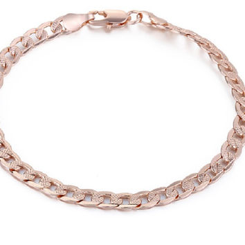 Cut Hammered Flat Curb Rose Gold Filled Chain Bracelet