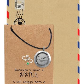Naomie Sister Locket Necklace with Heart, Infinity Arrow, and Swarovski Birthstone Charm, Gift for Sisters, Sisters Jewelry with Greeting Card