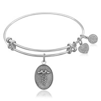 Expandable Bangle in White Tone Brass with Caduceus Staff Of Life Symbol