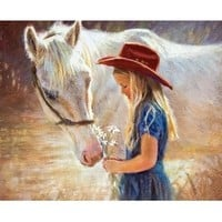 Horse with Girl DIY Diamond Embroidery Cross Stitch Painting