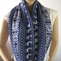 BLUE WHITE Infinity Scarf Christmas Pattern Cotton Jersey Loop Scarf Circle Scarf Chunky Scarf