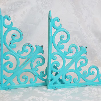 "8"" Shelf Bracket, Set of two, Distressed, White,  8""x8"", Cast Iron, Cottage, Romantic, Shabby Chic"