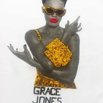 GRACE JONES Shirt T-shirt   Leopard  Painting 3d Tee African American Jamaica Gold  Brown  T-shirt
