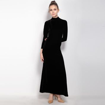 Fashion cute party sexy long sleeve  backless slits woman's Casual long dress