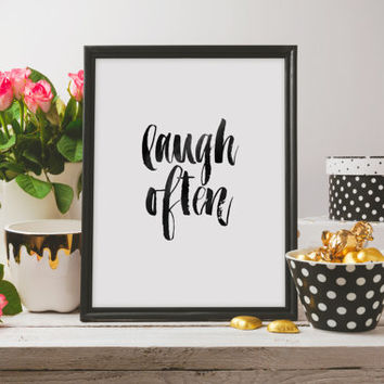 "Nursery Art Nursery Print Home Decor PRINTABLE Art ""Laugh Often"" Typography Art Print Inspirational quote Motivational poster Wall artwork"