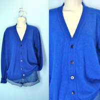 Grandpa Sweater / Vintage 1970s Royal Blue Cardigan Sweater