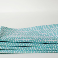 Set of 4 Cloth Table Napkins / White Herringbone on Sky Blue