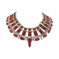 Pre-owned  Huge Czech Red &  Clear Glass  Collar Necklace