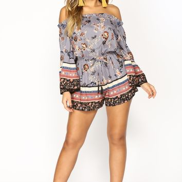 Your Paradise Floral Romper - Blue