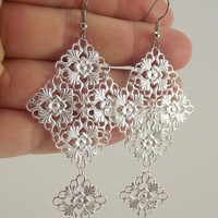 Medium Silver Chandelier Earrings, Silver Earrings