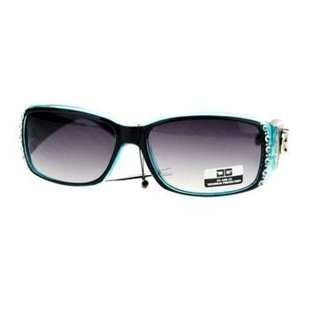 Cg Eyewear Rhinestone Studded Narrow Rectangular Designer Fashion Sunglasses Black Blue