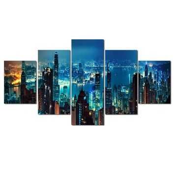 Canvas Wall Art: Urban Landscapes with Nighttime and Daytime Views Wall Art Print on Canvas
