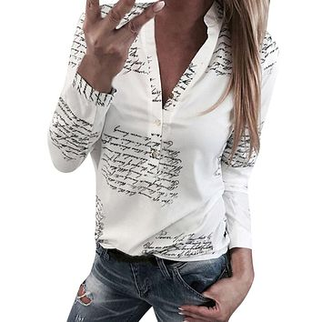 Women Letters Printing Blouses Fashion Ladies Chic V Neck Button Long Sleeve Shirt Tops Blouse