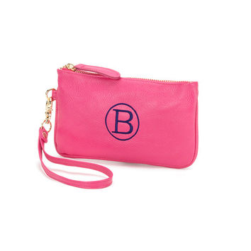 Hot PInk Mini Wristlet Purse Wallet  - Monogrammed Personalized Purse