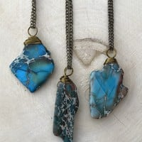 Blue Jasper Stone Necklace #I1044