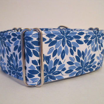 Blue Martingale Collar, Greyhound Martingale Collar, 2 inch Martingale Collar, Blue Dog Collar, Floral Dog Collar, Sighthound Collar