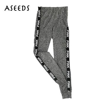 Pink letters print high waist fitness leggings women sexy activewear spandex jeggings womens workout clothes