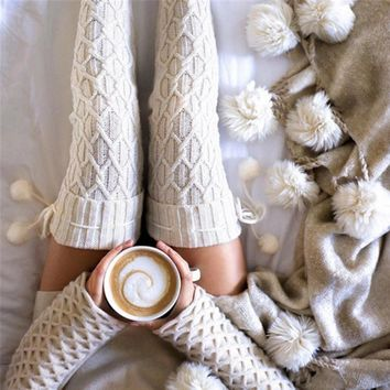 Knitted Thigh High Stockings Women Warm Winter Over Knee Stockings Sexy Woman Kawaii Pompom Stockings Calcetines Mujer Largos#1