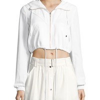 A.L.C. Broderick Cropped Hooded Jacket, White and Matching Items