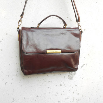 Vintage Leather Bag CLAUDIO FERRICI Leather Crossbody Bag with Handle  / Medium
