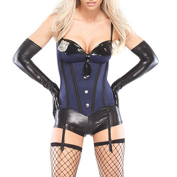 1 PC Navy Sexy Cop Bustier Costume