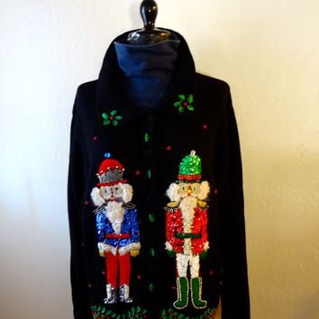 Vintage Victoria Jones Ugly Christmas Cardigan Sweater Nutcrackers Sequins Size Medium Raime Cotton Blend