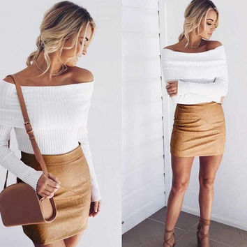 Women's Solid Color Off Shoulder knitted Sweaters + Nice Tatto Choker Necklace Gifts