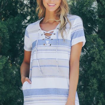 Lace Up Striped Dress Light Blue
