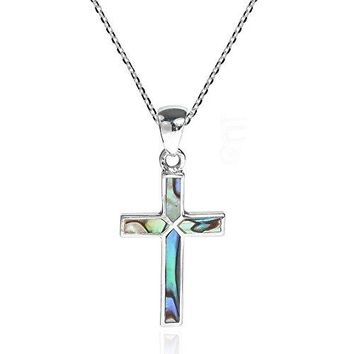 SHIP BY USPS: Cross of Faith Inlaid Abalone Shell .925 Sterling Silver Pendant Necklace