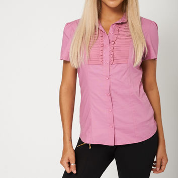 Women Pink Front Ruffle Shirt Cotton Rich Available In Plus Sizes