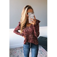 Forever And Ever Floral Top- Burgundy