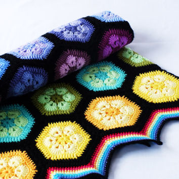 Hexagon rainbow baby blanket - crochet, afghan - flower, bright, happy!