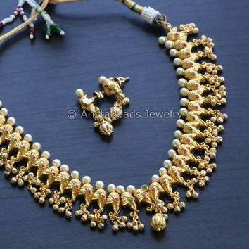 Ganesha Necklace with Gold Drops