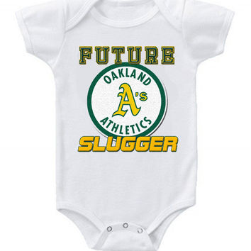 New Cute Funny Baby Onesuit Baseball Future Slugger MLB Oakland A's