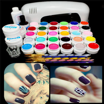 220V 9W 30 Color UV Gel Lamp Acrylic Manicure Nail Art Set Brush Cleanser