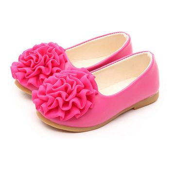 WENDYWU Kids Shoes For Girl 2017 Autumn New Fashion Flower Childrens Shoes Girls Solid