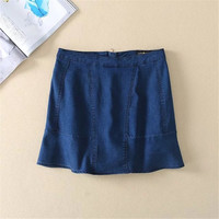 Women's Fashion Summer Zippers Denim Skirt [4920255108]