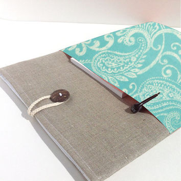 "MacBook Cover Case,11.6"", 13"", 15.4"" MacBook Sleeve Case, Custom Size Padded,Pocket - Turquoise Paisley, MacBook Air Case,MacBook Pro Case"