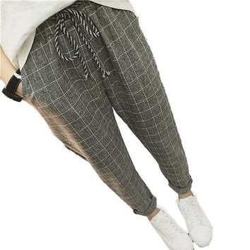 2017 New summer Casual Loose Harem Pants Cotton Linen Plaid Capris Grid women pants Spring trousers women sarouel femme