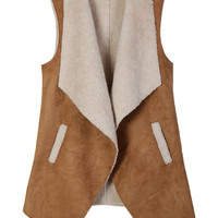 LE3NO Womens Vintage Open Front Faux Fur Suede Vest Pockets