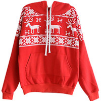 ROMWE | Red Long Sleeve Deers Print Pocket Front Hoodie, The Latest Street Fashion