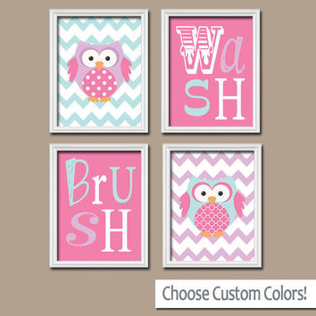 Owl Bathroom Canvas or Prints OWL Theme Bathroom Pink Wash Brush Bathroom Rules Girl Bathroom Art Sisters Bathroom Set of 4 Bathroom Decor