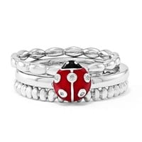 Sterling Silver Stackable Expressions Diamond Little Lady Bug Ring Set