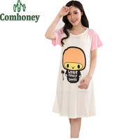 Maternity Nursing Dress for Pregnant Women Summer Short Sleeve Dress Maternity Breastfeeding Loose Cotton Pregnancy Clothes