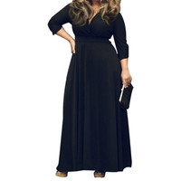 Women Plus Size Deep V Solid Color Maxi Dresses = 5659513537
