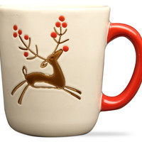 Prancing Reindeer Mug, Set of 4, Coffee Mugs