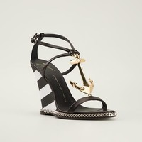 Giuseppe Zanotti Design Chain Trim Wedge Sandals - Gente Roma - Farfetch.com