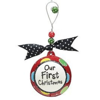 """""""Our First Christmas"""" Christmas Tree Ornament with Gift Box"""